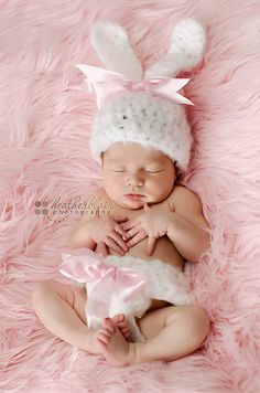 Now that is cute. Wonderful for newborn picture and even some Easter pics.     Baby Bunny hat and diaper cover set w/ pink by clicksandcrochets, $35.00