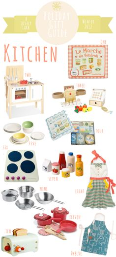 A Lovely Lark: Holiday Gift Guide 2012: Play Kitchen: Mia is getting some of this stuff for Christmas :)