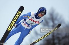 Akira Higashi of Japan in action during the Team Ski Jumping K120 competition in the FIS World Ski Championships on February 23 2003 in Val di Fiemme...