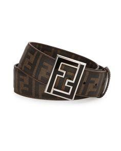 3f6343d39a7 NWT Fendi Mens Brown Black Zucca Print Leather FF Logo Enamel Buckle Belt  85 34