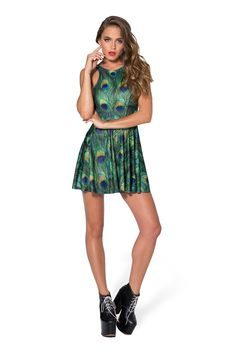 Peacock Reversible Skater Dress by Black Milk Clothing $85AUD