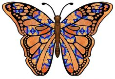 ArtbyJean - Paper Crafts: BUTTERFLIES from SET A25 - Orange and Blue - A mix and match collection of CRAFTY CLIP ART - For digital arts, collage, crafts, decoupage, cards and scrapbooks.
