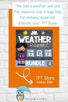 What's the weather like today? The weather station bundle is a perfect addition to a weather unit or winter, spring, summer or fall themes. Preschoolers and kindergartners can act as meteorologists using weather charts, graphs, and picture cards weather report bundle. Weather report bundle includes weather writing activities, making simple sentences, and circle time activities and weather songs. Weather Activities Preschool, Circle Time Activities, Preschool Themes, Writing Activities, Weather Song, Weather Unit, Weather Report, Spring Theme, Autumn Theme