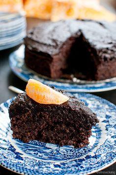 Gluten Free / Vegan Chocolate Cake With Chocolate Sauce