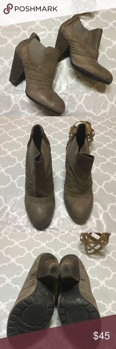 Vince Camuto Bronco Bootie Ruched vamp and pleated counter. Stacked heel bootie.  Oiled nubuck leather. Generous elastic allows for easy slip-on wear. Vince Camuto Shoes Ankle Boots & Booties