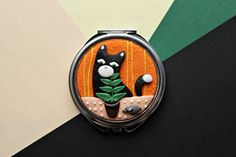Pocket Mirror of polymer clay Cat and Mouse animal от StudioTort