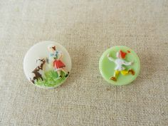 Vintage Painted Milk Glass Buttons 2 by ButtonUpCharm on Etsy, $4.50