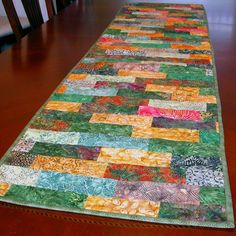 Quilted Table Runners | Batik Handmade Quilted Table Runner Green Gold Orange | GracefulArts ...