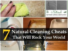 Natural Cleaning Cheats That Will Rock Your World.' (via Natural Living Ideas) Homemade Cleaning Products, Cleaning Recipes, Natural Cleaning Products, Cleaning Hacks, Cleaning Supplies, Diy Cleaners, Cleaners Homemade, Limpieza Natural, Grease Stains