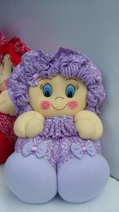 Más Sewing Toys, Free Sewing, Sewing Crafts, Sewing Projects, Raggedy Ann And Andy, Knitted Dolls, Soft Dolls, Purple Baby, Baby Bows