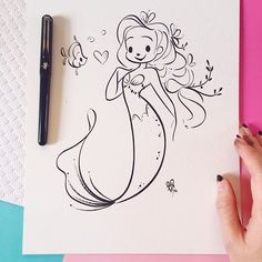 Happy Monday! 💕 First half of my original inktober drawings are available in my shop tonight at 7pm PST. :) #inktober #Inktober2016 #MondayMermie