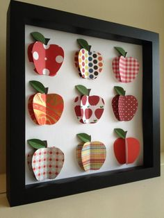 Red Apple Paper Art Kitchen Shadow Box Frame Red Apple Art Teacher Gifts from PaperLine Apple Art, Red Apple, Fall Crafts, Arts And Crafts, Diy Crafts, 3d Paper Art, 3d Art, Cuadros Diy, New Year Diy