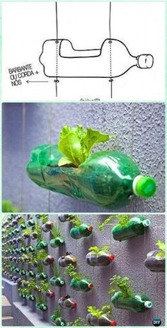 DIY Plastic Bottle Garden Projects & Ideas [Picture Instructions] DIY Hanging Plastic Bottle Gardening Wall Instructions - DIY Plastic Bottle Garden P Vertical Garden Diy, Diy Garden, Garden Projects, Garden Pots, Vertical Planter, Vertical Gardens, Balcony Garden, Summer Garden, Garden Ideas Diy