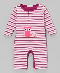 Another great find on #zulily! Burgundy Stripe Owl Playsuit - Infant #zulilyfinds