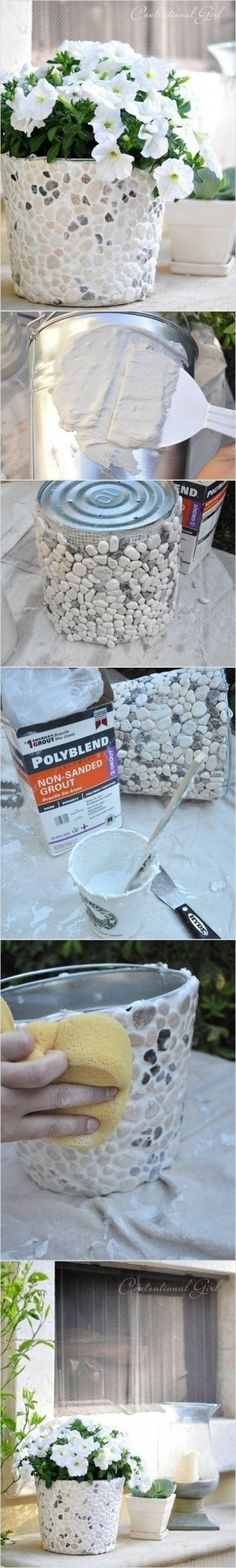 DIY  Planter - tiling with rocks; get rocks from dollar tree, and can use old paint cans instead of buckets!!!!!!!