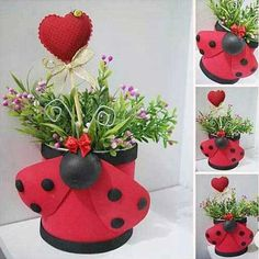 16 totally different Clay Pot Ladybugs. Who would have believed there could be so many ways to make Ladybugs from clay pots. Aluminum Can Crafts, Tin Can Crafts, Diy And Crafts, Crafts For Kids, Clay Pot Projects, Clay Pot Crafts, Shell Crafts, Painted Clay Pots, Painted Flower Pots