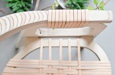 Jessy Van Drume is a designer from Belgium who designed the Bind Chair for studio KLAER. Made up of only two materials, a lightweight birch for the frame and thin strips of unblemished pale pink leather that bind the structure together and make the woven seat, its beauty is in the simplicity