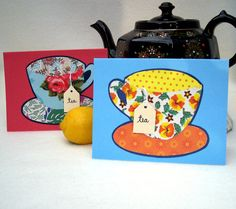 TEA 4 TWO cards 2 handcrafted colorful cards plus by ClaudiasCards, $5.75