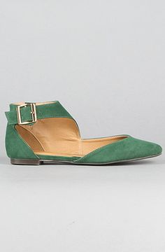So cute! Also available in black or cognac. The Giulia Ankle Strap Flat in Dark Green Suede by *Sole Boutique at karmaloop.com. $32.00