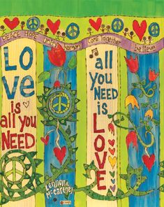 Art for the Love is All You Need Art Pole by Stephanie Burgess The Beatles, Beatles Art, Peace Pole, Garden Poles, Pole Art, Lyric Art, All You Need Is Love, Yard Art, Beautiful Artwork