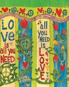 Art for the Love is All You Need Art Pole by Stephanie Burgess The Beatles, Peace Pole, Garden Poles, Pole Art, Lyric Art, Yard Art, Beautiful Artwork, Love Is All, Bunt
