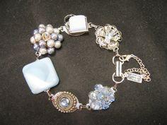 "The perfect ""something blue"" with an elegant vintage vibe! Vintage Earring Bracelet Bridesmaid Gift by JenniferJonesJewelry, $37.50"