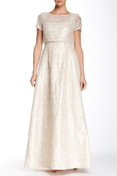 Beaded Popover Bodice Gown by Kay Unger on @nordstrom_rack