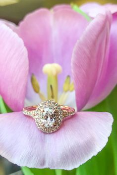 Rose gold oval diamond double halo engagement ring