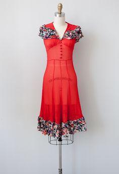vintage 1920s red sheer flapper dress | 1920s | 1930s | vintage dress
