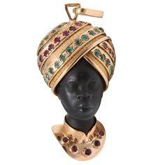 Blackamoor Ebony, Ruby and Emerald Gold Pendant at 1stdibs