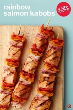 How fun are these? Here's a delicious, easy and effortless grill idea for that summer lunch or dinner. Just cut up thawed Simply Balanced Salmon Fillets and thread them through skewers with alternating chunks of peppers and onion. Now glaze over with a medley of sauces and grill until salmon is cooked through. Who's hungry?