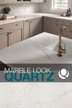 Introducing our newest white marble look-alikes in our Q™ Premium Natural Quartz Countertop Collection. These gorgeous designs take a style cue from luxurious white marble – right down to the uber realistic veining. Maintenance-free and ultra-durable, they are perfect for any kitchen or bathroom.