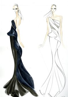 """dknyprgirl: """" The sketch before the gown. Donna Karan Atelier for Anna Kendrick. """""""
