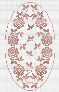 Kira scheme crochet: Scheme crochet no. Cross Stitch Rose, Cross Stitch Flowers, Cross Stitch Embroidery, Cross Stitch Patterns, Crochet Tablecloth Pattern, Easy Crochet Patterns, Crochet Motif, Crochet Stitches, Crochet Dollies