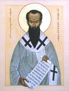 """January 2nd Saint Basil the Great.   Bishop of Caesarea, and one of the most distinguished Doctors of the Church. Born probably 329; died 1 January, 379. He ranks after Athanasius as a defender of the Oriental Church against the heresies of the fourth century. With his friend Gregory of Nazianzus and his brother Gregory of Nyssa, he makes up the trio known as """"The Three Cappadocians"""", far outclassing the other two in practical genius and actual achievement."""