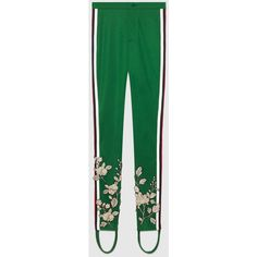 Gucci Embroidered Jersey Stirrup Legging ($1,215) ❤ liked on Polyvore featuring pants, leggings, green, pants & shorts, ready to wear, women, floral skinny pants, skinny leggings, stirrup leggings and embroidered leggings