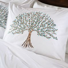 @Overstock.com - Bring a fresh new look to your bedroom decor with this tree of life themed duvet cover set. This duvet cover set features printed appliqued leaves with hand-embroidery on cotton fabric from India.   http://www.overstock.com/Worldstock-Fair-Trade/Tree-of-Life-Queen-size-3-piece-Duvet-Cover-Set-India/6223604/product.html?CID=214117 $99.99