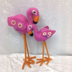 Hand Made Wool Felted Pink Flamingos Very Clean Great Gift Item Flower Detail  #Unbranded