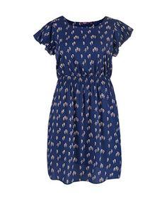 Blue Pattern (Blue) Inspire Blue Owl Print Frill Dress | 264330349 | New Look