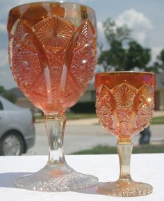 Imperial Octagon wineglass & matching 2 ounce cordial in marigold carnival