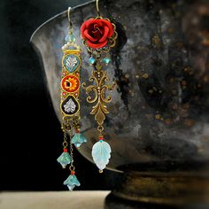 Mosaic garden and red rose mismatched earrings
