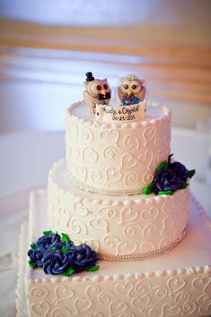 Love bird owl wedding cake topper custom cake by PerlillaPets. Owls on a wedding cake? That will be my cake topper.