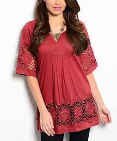 This Burgundy Crochet-Panel Notch Neck Top is perfect! Corchet detailing adds an element of surprise to this cotton notch neck top. 100% cotton Imported