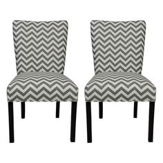 @Overstock - Give your home a new look with these fashionable chairs. This set of two chairs features fabric upholstery and an attractive finish.http://www.overstock.com/Home-Garden/Julia-Zig-Zag-Grey-Dinning-Chairs-Set-of-2/7634125/product.html?CID=214117 $245.99