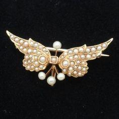 Seed Pearl Vintage 9ct Brooch