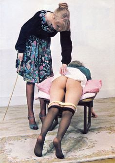bringbackthecane:londonlife ¼ Panties and pantyhose pulled down for a caning across the stool.