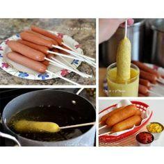 Receta de banderillas Bate 1 lata de leche evaporada, 2 huevos, 1 cucharada de polvo para hornear, 2 tazas de harina de trigo. Vacía la mezcla en un vaso largo, sumerge las salchichas, ponles un palito y fríe.