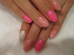 Round nails in pinks - would do pink glitter instead of silver
