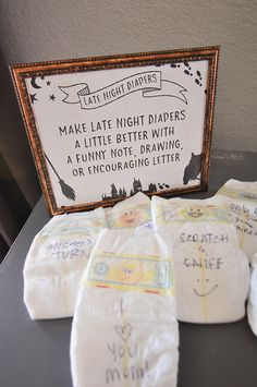 Harry Potter Baby Shower Ideas & Free Printables - Our Handcrafted Life - Harry Potter Baby Shower Late Night Diaper Game. How to plan Harry Potter Baby Shower complete with - Bingo Baby Shower, Invitation Baby Shower, Deco Baby Shower, Baby Shower Activities, Baby Shower Diapers, Cute Baby Shower Ideas, Baby Shower Games Funny, Baby Shower Banners, Baby Shower Games Printable