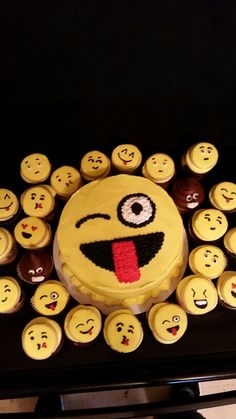 Emoji birthday party -cookie toppers and a couple little poops!
